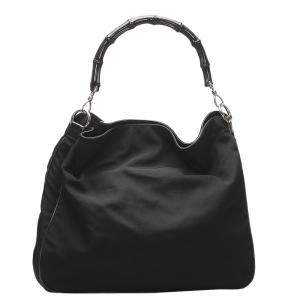 Gucci Black Nylon Bamboo Tote Bag