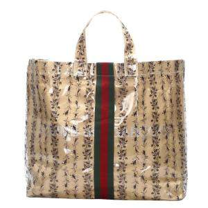 Gucci Brown/Beige Web Vinyl Tote Bag