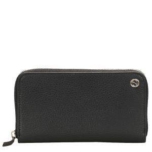 Gucci Black GG Leather Zip Around Wallet