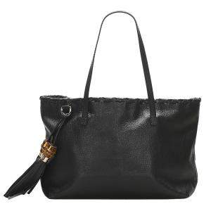 Gucci Black Leather Bamboo Shoulder Bag