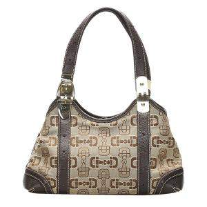 Gucci Brown/Dark Brown Horsebit Canvas Tote Bag