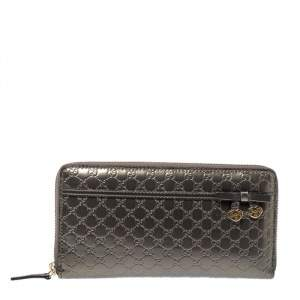 Gucci Grey Microguccissima Patent Leather Nice Candy Shine Zip Around Wallet