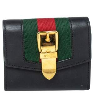 Gucci Black Leather Sylvie Trifold Wallet