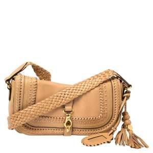 Gucci Beige Leather Braided Handle Tassel Shoulder Bag