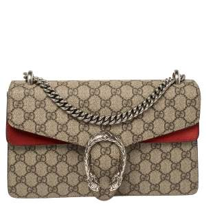 Gucci Beige/Red GG Supreme Canvas and Suede Small Dionysus Shoulder Bag