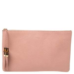 Gucci Pink Leather Bamboo Braided Tassel Zip Clutch