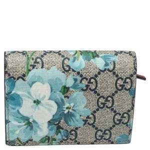 Gucci Blue GG Supreme Canvas Blooms Card Case
