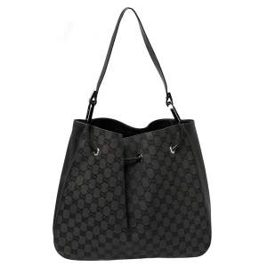 Gucci Grey/ Black GG Canvas And Leather Drawstring Hobo