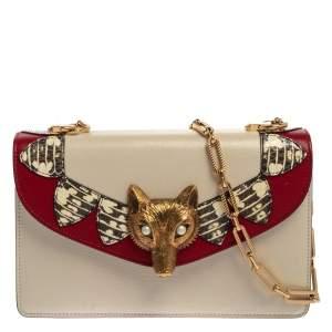 Gucci Cream White Leather and Python Broche Magic Lanterns Fox Shoulder Bag