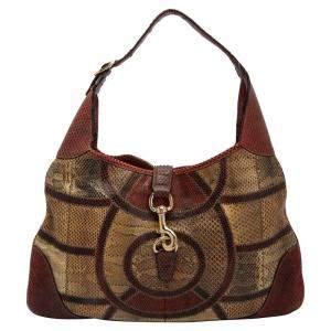 Gucci Multicolor Python Patchwork Leather Medium Jackie Hobo Bag