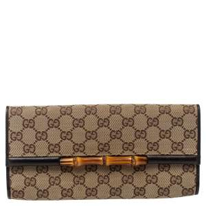 Gucci Dark Brown/Beige GG Canvas and Leather Bamboo Bar Clutch