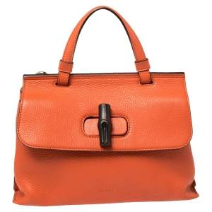 Gucci Orange Leather Medium Bamboo Daily Top Handle Bag
