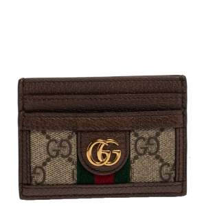 Gucci Beige/Ebony GG Supreme Canvas and Leather Ophidia GG Card Case