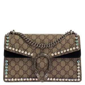 Gucci Beige/Black GG Supreme Canvas Small Dionysus Shoulder Bag