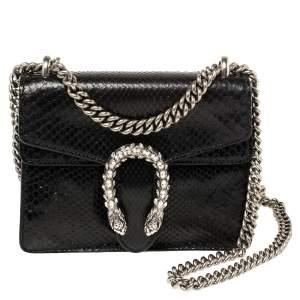Gucci Black Python Mini Dionysus Shoulder Bag