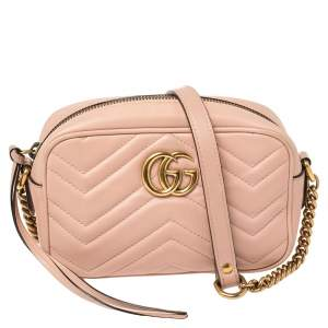 Gucci Pink Leather GG Marmont Camera Crossbody Bag