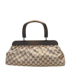 Gucci Brown/Beige GG Canvas Top Handle Bag