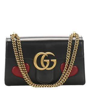 Gucci Black Leather GG Marmont Shoulder Bag