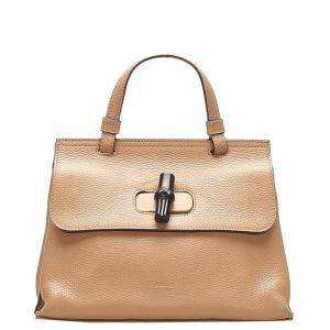 Gucci Brown Leather Bamboo Daily Bag