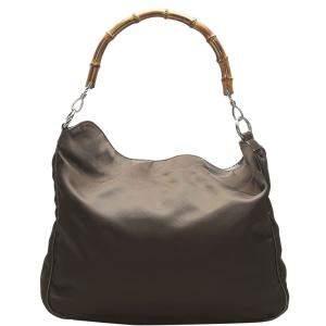 Gucci Brown Nylon Bamboo Bag
