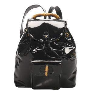 Gucci Black Patent Leather Bamboo Drawstring Backpack