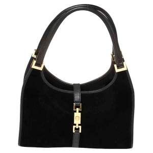 Gucci Black Leather and Suede Bardot Hobo