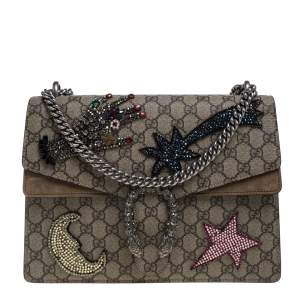 Gucci Beige GG Supreme Canvas and Suede Medium Crystal Embellished Dionysus Shoulder Bag