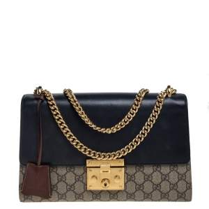 Gucci Tricolor GG Supreme Canvas and Leather Medium Padlock Shoulder Bag