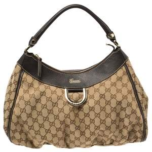 Gucci Brown GG Canvas and Leather D Ring Hobo