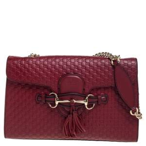 Gucci Burnt Red Micro Guccissima Leather Medium Emily Shoulder Bag