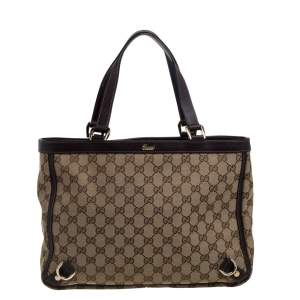 Gucci Beige/Brown GG Canvas and Leather Medium Abbey Tote