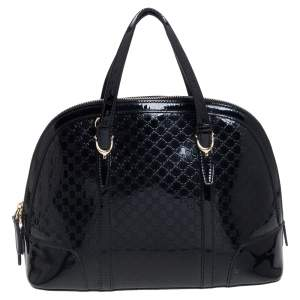 Gucci Black Microguccissima Patent Leather Small Nice Bag