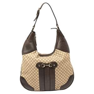 Gucci Brown/Beige Diamante Canvas and Leather Catherine Hobo