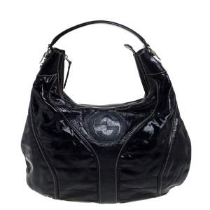 Gucci Black Patent Leather Snow Glam Medium Hobo