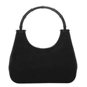 Gucci Black Suede Bamboo Top Handle Bag