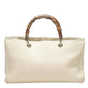 Gucci White Leather Bamboo Shopper Tote Bag