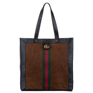 Gucci Brown Leather/Suede Ophidia House Web Tote Bag
