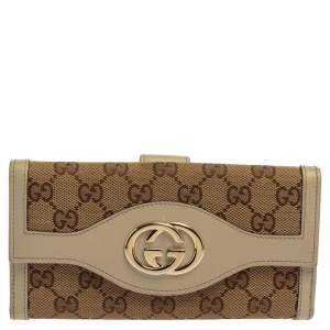Gucci Beige GG Canvas and Leather Sukey Continental Wallet