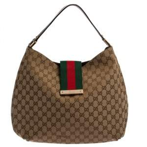 Gucci Beige/Ebony GG Canvas and Leather Medium New Ladies Web Hobo