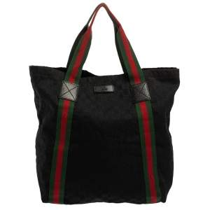 Gucci Black GG Canvas Original Web Tote