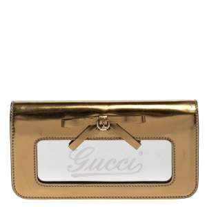Gucci Metallic Gold Leather Bow Clutch