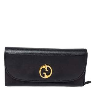 Gucci Black Leather Flap 1973 Continental Wallet