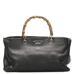 Gucci Black Leather Bamboo Shopper Satchel Bag