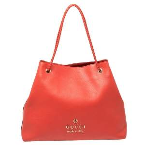 Gucci Red Braided Handle Leather Large Gifford Tote