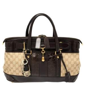 Gucci Brown/Beige GG Canvas, Crocodile and Leather Secret Web Tote