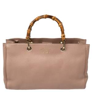 Gucci Old Rose Leather Medium Bamboo Shopper Tote