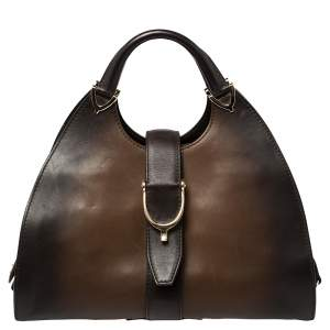 Gucci Ombre Brown Smooth Leather Stirrup Hobo