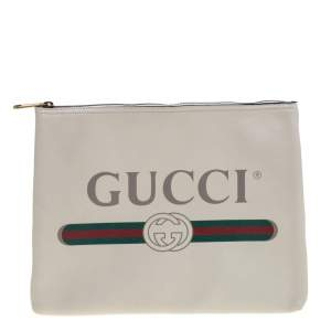 Gucci Off White Leather Logo Print Zip Pouch