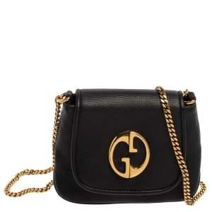 Gucci Black Leather Small 1973 Chain Crossbody Bag