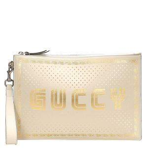Gucci White/Gold Guccy Sega Leather Clutch Bag